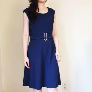 Navy Blue Sleeveless Casual Business Mini Dress